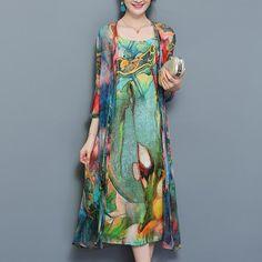 b65e222fc2e0 Viacfarebné dvojdielne plážové šifónové midi šaty s kvetinovou potlačo –  Amoi.Sk Maxi Šaty