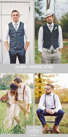 24 Vintage Men's Wedding Attire For Themed Weddings ❤ Grooms are faced with options almost as endless as bride ones. Planning a themed wedding? We got you covered! Take a look on vintage men's wedding attire! Wedding Dress Men, Wedding Men, Wedding Suits, Wedding Attire, Trendy Wedding, Wedding Vintage, Mens Wedding Looks, Vintage Party, Fall Wedding