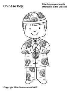 Chinese Boy in Chinese Symbols Coloring Page - NetArt Learn Chinese, Chinese Boy, New Year's Crafts, Easter Crafts, Chinese New Year Card, International Craft, Welcome Home Parties, New Year Art, Chinese New Year Crafts