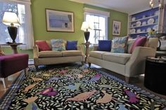 This is such a mixture of garrish colors but, it works and I love the rug!  Birds!