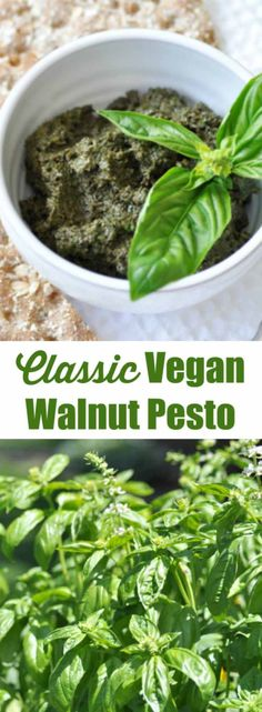 This classic vegan walnut pesto recipe is so easy and fast to make. The fresh basil and walnuts come together to make the perfect dip, spread, or sauce. www.veganosity.com