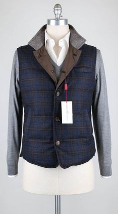 New $2925 Luciano Barbera Navy Blue Plaid Vest