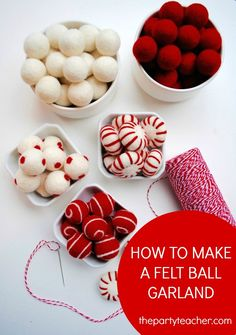 How to Make a Felt Ball Garland Tutorial by The Party Teacher 3 The post Tutorial: How to Make a Felt Ball Garland appeared first on Easy Crafts. Felt Christmas Decorations, Felt Christmas Ornaments, Noel Christmas, All Things Christmas, Diy Christmas Garland, Felt Ball Garland, Diy Garland, Beaded Garland, How To Make Garland