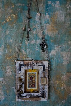 """Our Lady of Czestochowa- """" Black Madonna""""- wall hanging Shrine/Milagro- She is considered the Patron saint of Poland... By: Cuban Artist-  Lazaro Iglesias Inquire for price...SOLD"""