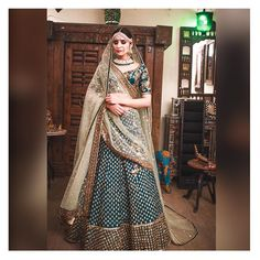 Featuring a peacock Green lehenga skirt in raw silk and satin base with zardosi hand embroidery. Floral Lehenga, Raw Silk Lehenga, Green Lehenga, Lehenga Skirt, Hot Pink Blouses, Designer Bridal Lehenga, Blue Bridal, Lehenga Designs, Traditional Looks