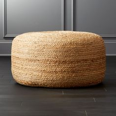 On sale.  Shop Braided Jute Large Pouf.   Spontaneous seating rounds out the room in coiled braids of light and natural jute.  Dense poly-fill makes pouf sturdy for seat/ottoman duty.  Or, top it with a tray when guests pop in.