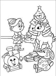 rudolph with children in christmas day coloring for kids rudolph coloring pages kidsdrawing free coloring pages online