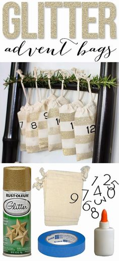 DIY glitter advent bags