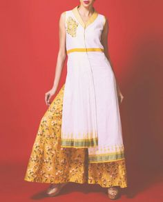 SHRUTI SANCHETI White Tunic with Mustard Palazzo Pants