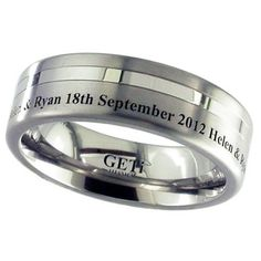 Flat profile Titanium ring with two off centre grooves and outside edge engraving. By GETi