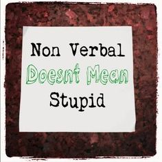 Non-Verbal doesn't mean stupid #specialneeds