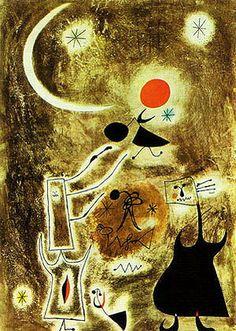Joan Miro Masterpiece   Joan Miro - Woman and Bird in Front of the Sun 1942