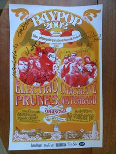 Electric Prunes & Chocolate Watchband SIGNED Baypop Poster 2002 in Entertainment Memorabilia, Music Memorabilia, Other Music Memorabilia Snack Recipes, Snacks, Rock Posters, Pop Tarts, Watch Bands, Electric, Entertaining, Chocolate, Signs