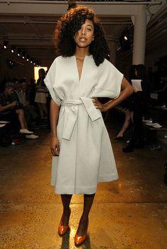 Corrine Bailey Rae attends Fashion Week.  I love the orange heels.