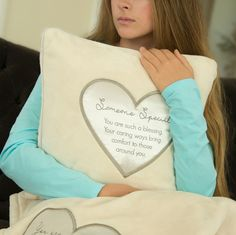 Someone special - embroidered heart super soft throw pillow