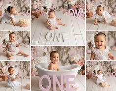 Pink and white floral first birthday cake smash. Flowers, greenery, twinkle lights, teepee, and ombre cake. Girls First Birthday Cake, Birthday Cake Smash, Baby Girl Birthday, Birthday Ideas, Milk Bath Photography, Newborn Photography, Cake Smash Pictures, Ombre Cake, Twinkle Lights