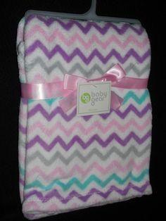 "Baby Gear Wavy Stripe Chevron Print Baby Girl Blanket 30""x40"" Purple Pink NEW"