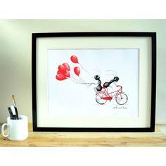 LÁMINA GLOBO BICI Frame, Home Decor, Art, Point Of Sale, Kids Rooms, Balloon, Presents, Dots, Illustrations