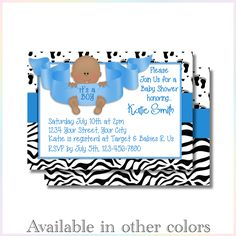 Personalized Printable Invitations | Baby Feet Boy | Baby Shower