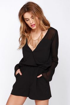Pour Me Another Black Long Sleeve Romper at Lulus.com!