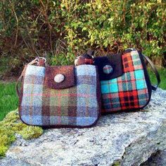 Small Rounded Handmade Harris Tweed Handbags With A Contrast Tab And Gusset Band Poly Cotton Lining Inner Pocket Leather Handles