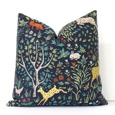 Flora and Fauna Decorative Designer Pillow Cover Accent gold green orange teal red bird fox goat deer rabbit navy blue animals floral nature by WhitlockandCo on Etsy https://www.etsy.com/listing/208420375/flora-and-fauna-decorative-designer