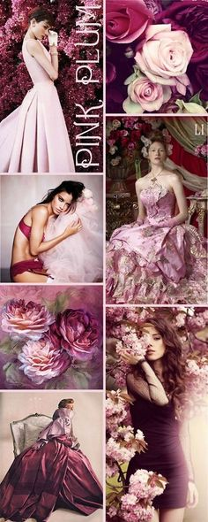 Pink and plum color inspiration Color Schemes Colour Palettes, Color Trends, Color Combinations, Mood Colors, Color Collage, Color Harmony, Colour Board, Color Stories, Color Theory