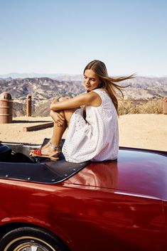 White eyelet cotton (and a classic car) is the perfect way to show off sun-kissed skin #TommyHilfiger