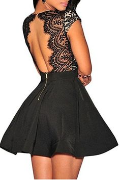 Zeagoo Women's V Neck Lace Open Back Nude Illusion Skater Cocktail Party Dress,Black,Large