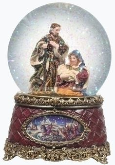 Roman Pack of 2 Woodland Inspirations Musical Holy Family Snow Globe Glitterdomes