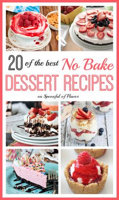 The Best No-Bake Dessert Recipes - 20 of the best No Bake Dessert Recipes perfect for summer!
