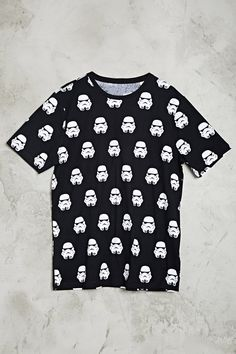 A short-sleeved cotton knit tee featuring a Star Wars Stormtrooper print and a ribbed crew neckline.
