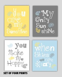You are my sunshine Paisley Art Prints, Set of Four  8x10 prints, Yellow, gray and blue nursery art, nursery, or playroom, or as a gift