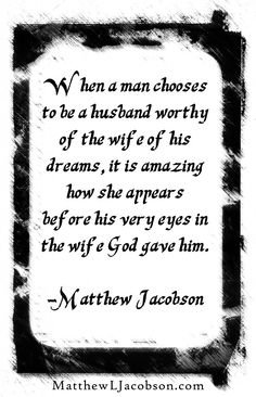"If you buy this book, read, and apply it, you will earn the biggest return on the smallest investment you'll ever make. ""Staying in Love with the Woman You Married"" MatthewLJacobson.com Get Your Free Book delivered to your inbox when you Subscribe Today MatthewLJacobson.com"