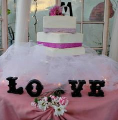 Off-set Square Bling Wedding Cake!  #RachelsBakeShop