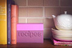 DIY color-block recipe box