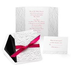 Embossed+Damask+Wedding+Invitation+-+White (evening wedding)