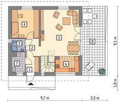Rzut parteru POW. 63,8 m²