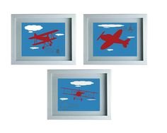 Airplane Art Kids Nursery Decor - Wall Art Aviation Print Blue White Art Home Decor Kids room Set of 3 -8X10 Prints - Boy's Room Baby's roo