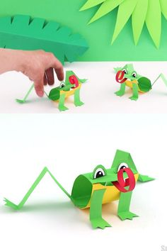 Make a paper frog based on the Green Tree frog species. This is a simple paper craft for kids with a printable template available Crafts Paper frog craft Paper Roll Crafts, Paper Crafts For Kids, Crafts To Make, Printable Paper Crafts, Fish Paper Craft, Paper Crafting, Animal Crafts For Kids, Art For Kids, Green Crafts For Kids