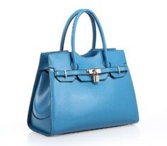 Fineplus Women:s High Class Birkin Inspired Genuine Leather Cross Pattern Shoulder Strap Tote Bag Blue