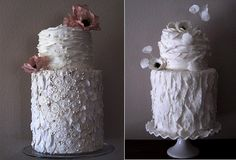 boho wedding cakes with feathers by Megan Joy Cakes