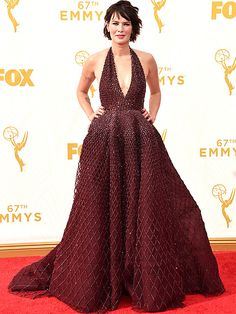The Most Gorgeous Gowns on the Red Carpet at the 2015 Emmys | LENA HEADEY | Don't recognize her without her long Cersei Lannister locks? We still think she looks awfully regal in her plunging Zuhair Murad gown and Harry Kotlar jewels.