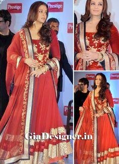 Aishwary Rai Bollywood Replicas Rust Color Designer Lehenga Choli .The whimsical composed patch outskirt work and resham work