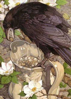 """Aesop`s Fables ~ illustrated by Don Daily.""""The Crow and the Pitcher"""""""