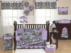 Purple Funky Zebra Baby Bedding - 9 pc Crib Set - Click to enlarge
