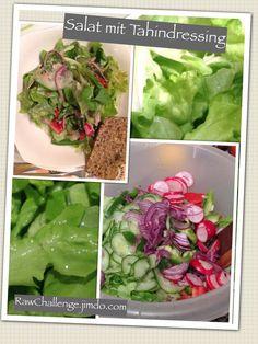 Salat mit Tahindressing Lettuce, Cabbage, Vegetables, Challenge, Food, Food Portions, Eten, Recipes, Vegetable Recipes