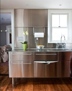 stainless steel kitchen cabinets. Stainless Steel Kitchens Ideas  Inspiration Pictures kitchen dishes http Brick wall Kitchen cabinets walls