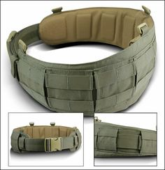 """One of several """"battle belts"""" on the market that incorporate soft armor for added protection when worn with plate carriers or an armor carrier like the Crye CAGE Armor Chassis. Molle Gear, Airsoft Gear, Tactical Belt, Tactical Clothing, Tactical Survival, Survival Gear, Bushcraft, War Belt, Bug Out Gear"""