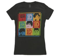 Amazon.com: Global Merchandising Girls One Direction Colorful Squares T-Shirt: Clothing